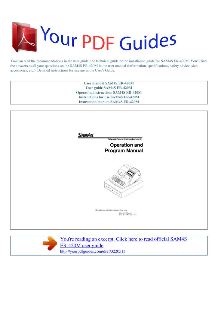 Sam4s er-420m cash register manual.