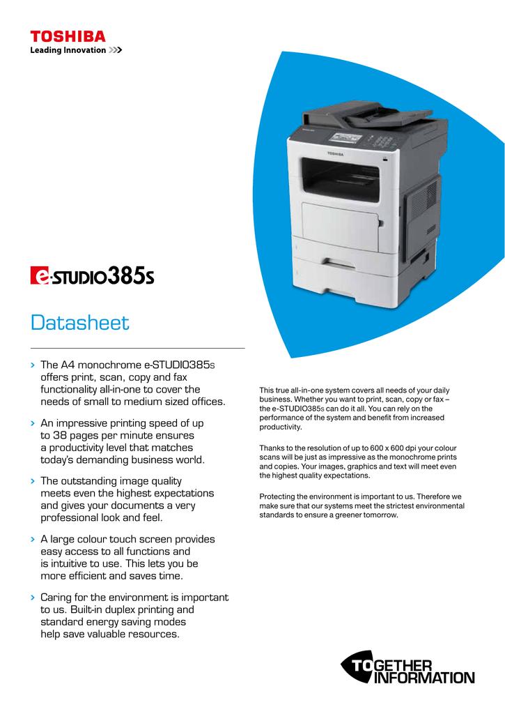 Toshiba e-STUDIO385S datasheet | manualzz com