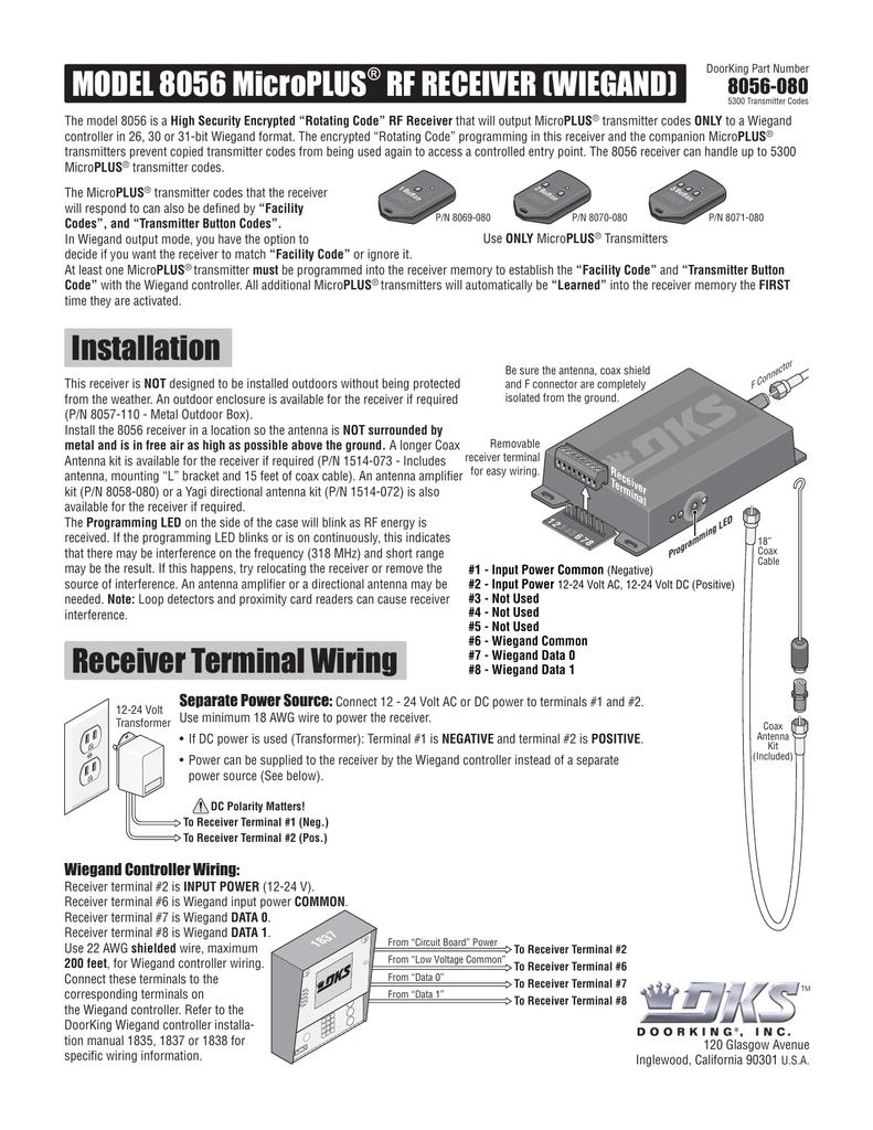 Installation Receiver Terminal Wiring MODEL 8056 MicroPLUS