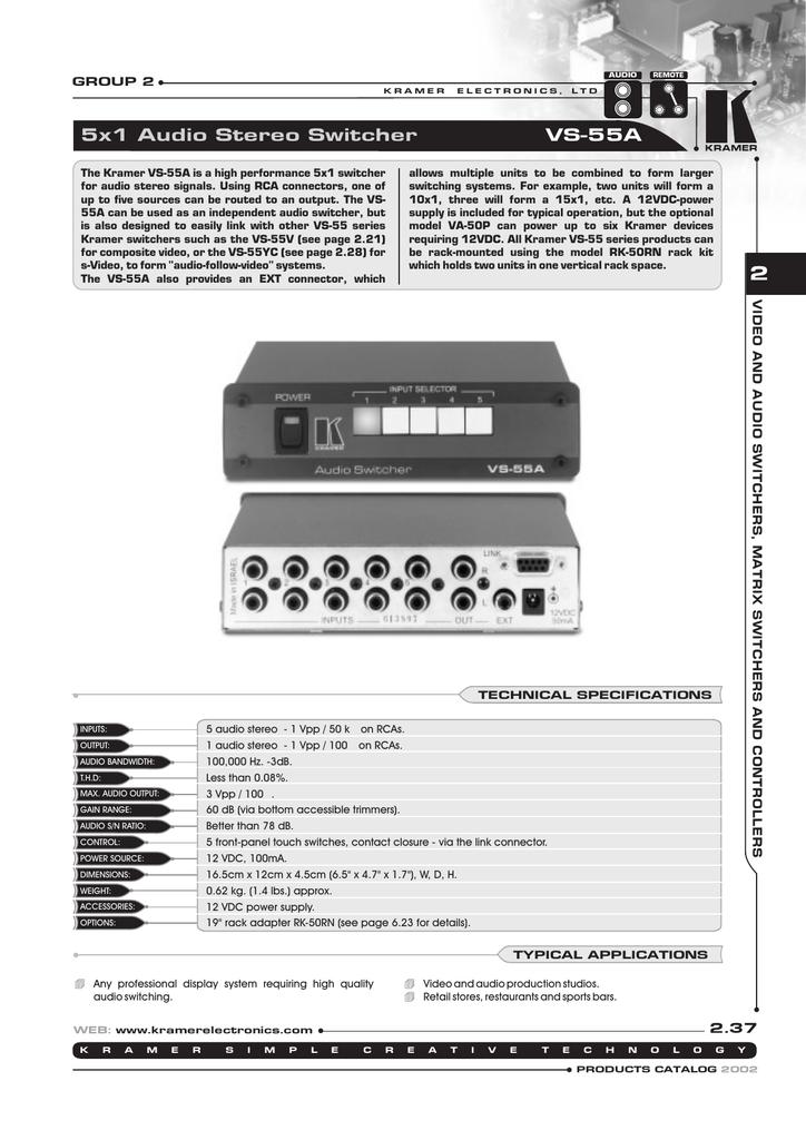 Kramer Electronics VS-55A 5x1 Stereo Audio Switcher