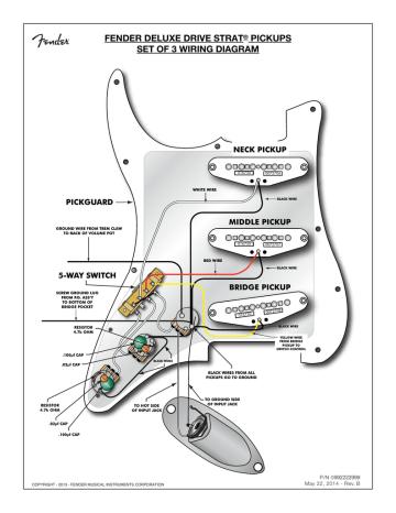 Fender Deluxe Drive Strat Pickups Set, Fender Strat Pickup Wiring Diagram