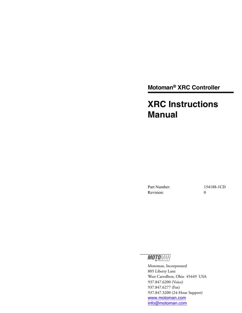 motoman xrc controller xrc instructions manual manualzz com rh manualzz com Motoman Robot Manuals Motoman Robotic Welding