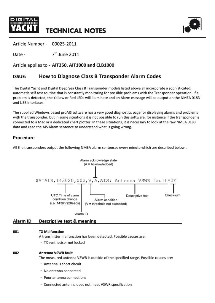 tech 00025-2011 diagnosing ais transponder alarms | manualzz com