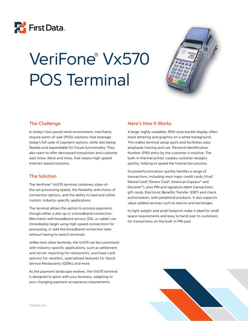 VeriFone® Vx570 POS Terminal - Omega Bank Card Services