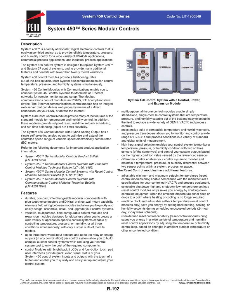 System 450™ Series Modular Controls | manualzz com