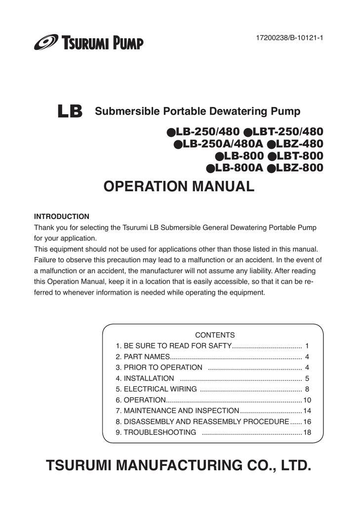 Operational Manual - The Official Tsurumi Pump Store   manualzz com