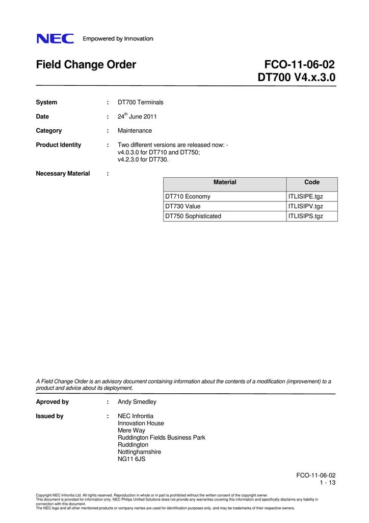 Field Change Order FCO-11-06-02 DT700 V4 x 3 0 | manualzz com