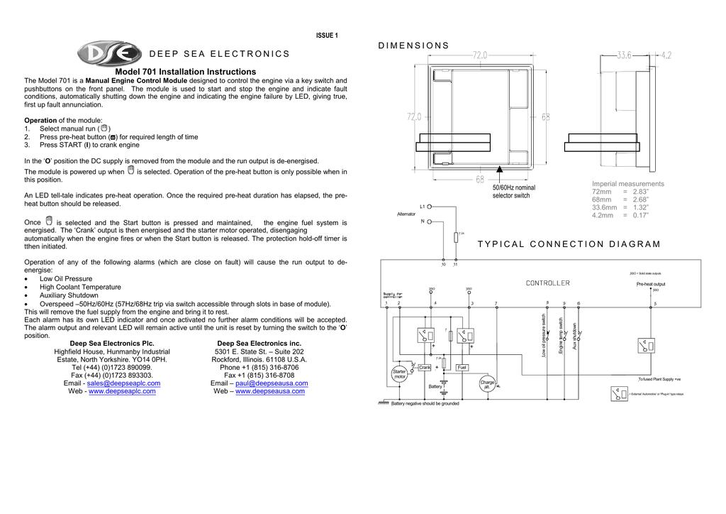 Deep Sea Electronics Model 701 Installation Instructions