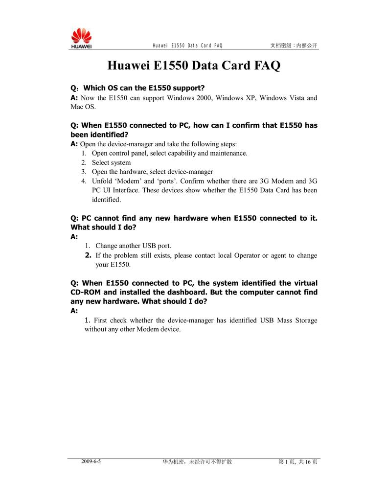 Huawei E1550 FAQ   manualzz com