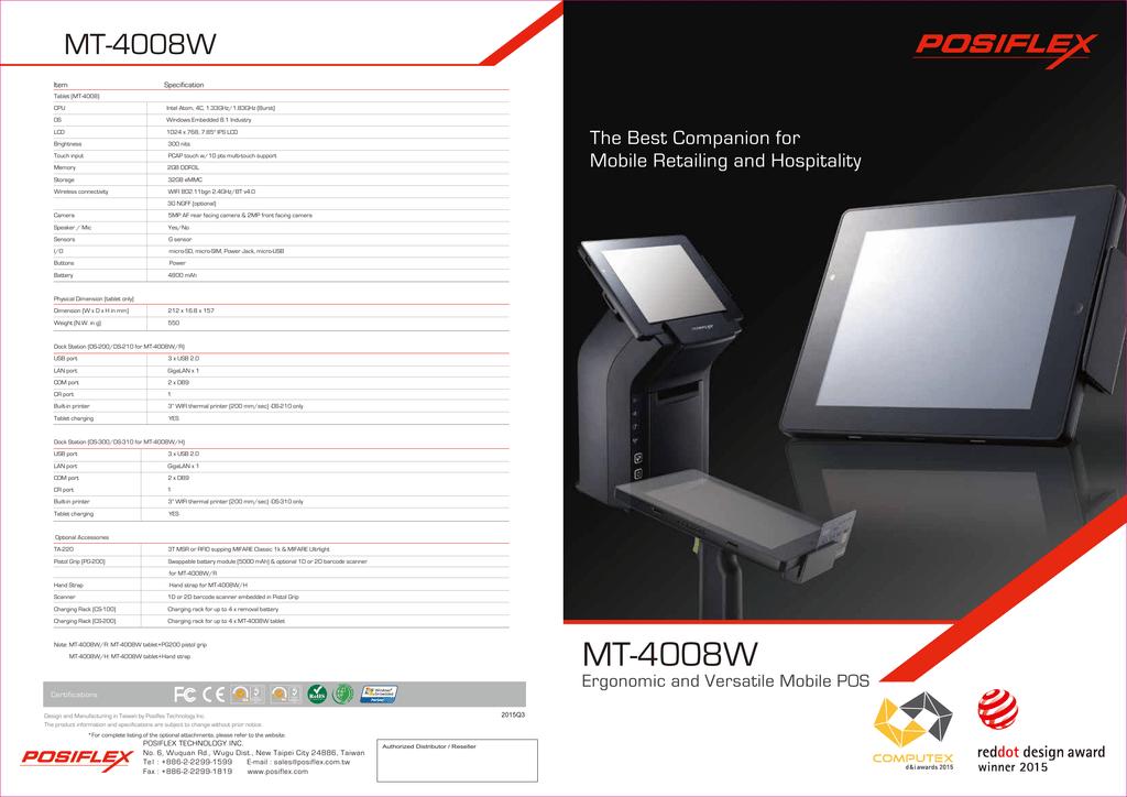 MT-4008W - Posiflex | manualzz com
