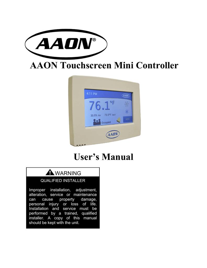 AAON Touchscreen Mini Controller User`s Manual | manualzz.com on