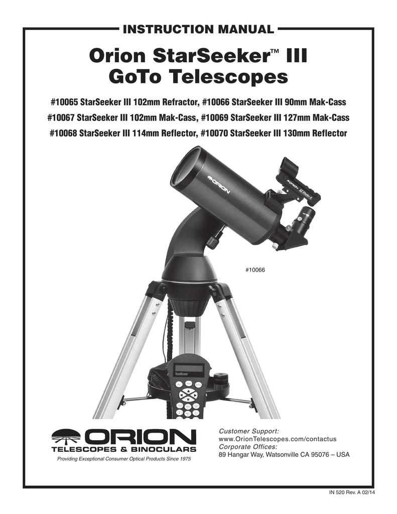Orion StarSeeker™ III GoTo Telescopes | manualzz com