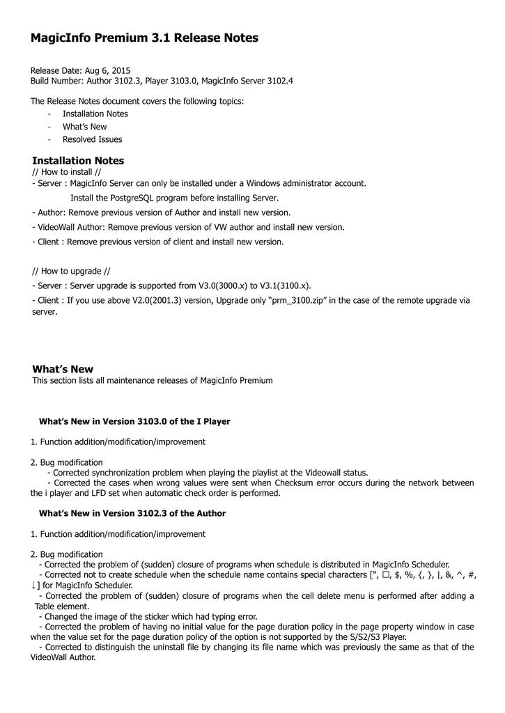 MagicInfo Premium 3 1 Release Notes | manualzz com