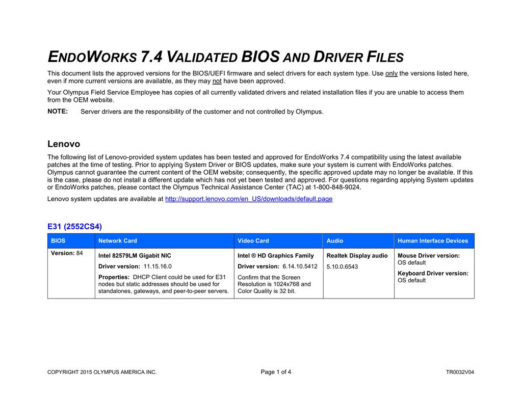 EndoWorks 7 4 Validated BIOS and Driver Files   manualzz com