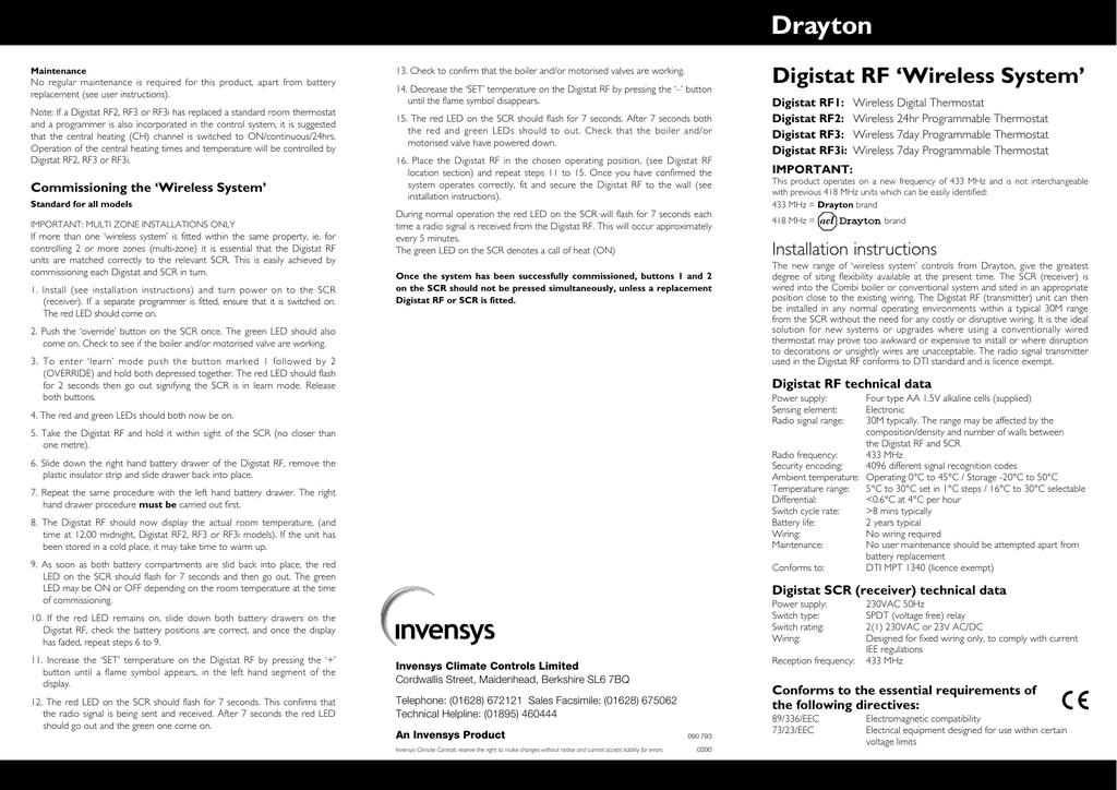 Drayton Digistat Rf3 Wiring Diagram