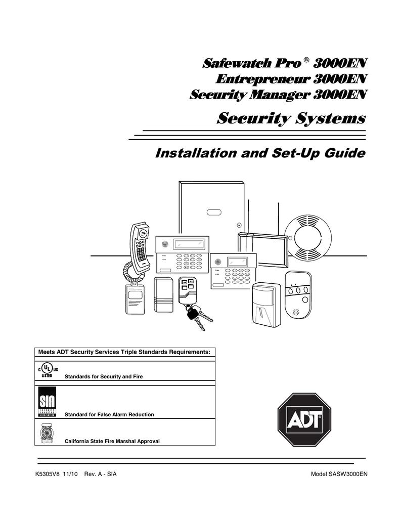 Adt Entrepreneur 3000en Enterpreneur 3000en Safewatch Pro 3000en User Manual Manualzz