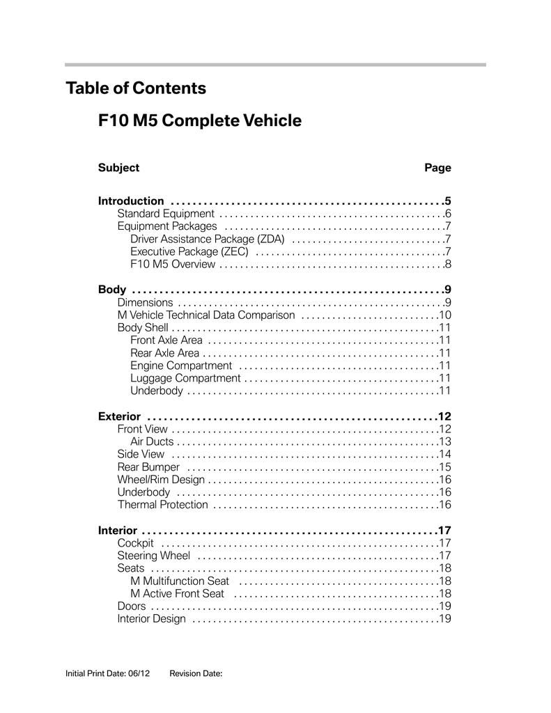 F10 M5 Complete Vehicle | Manualzzmanualzz