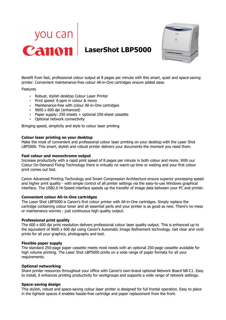 CANON LASERSHOT LBP5000 PRINTER WINDOWS DRIVER DOWNLOAD