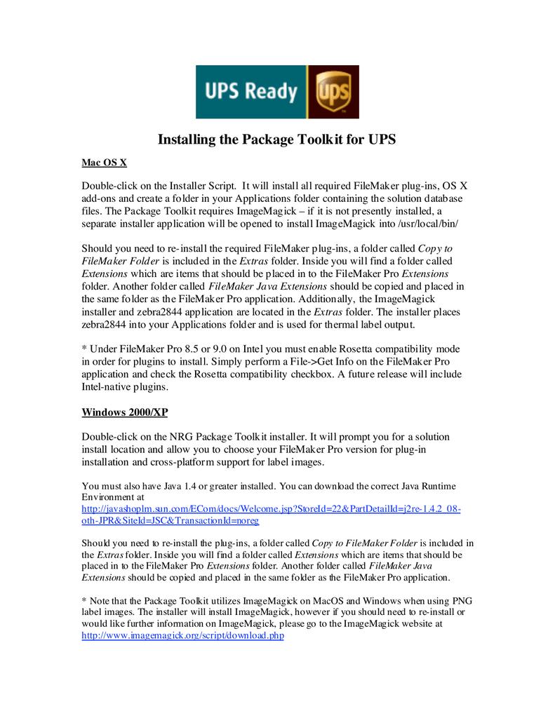 Package Toolkit UPS v114 | manualzz com