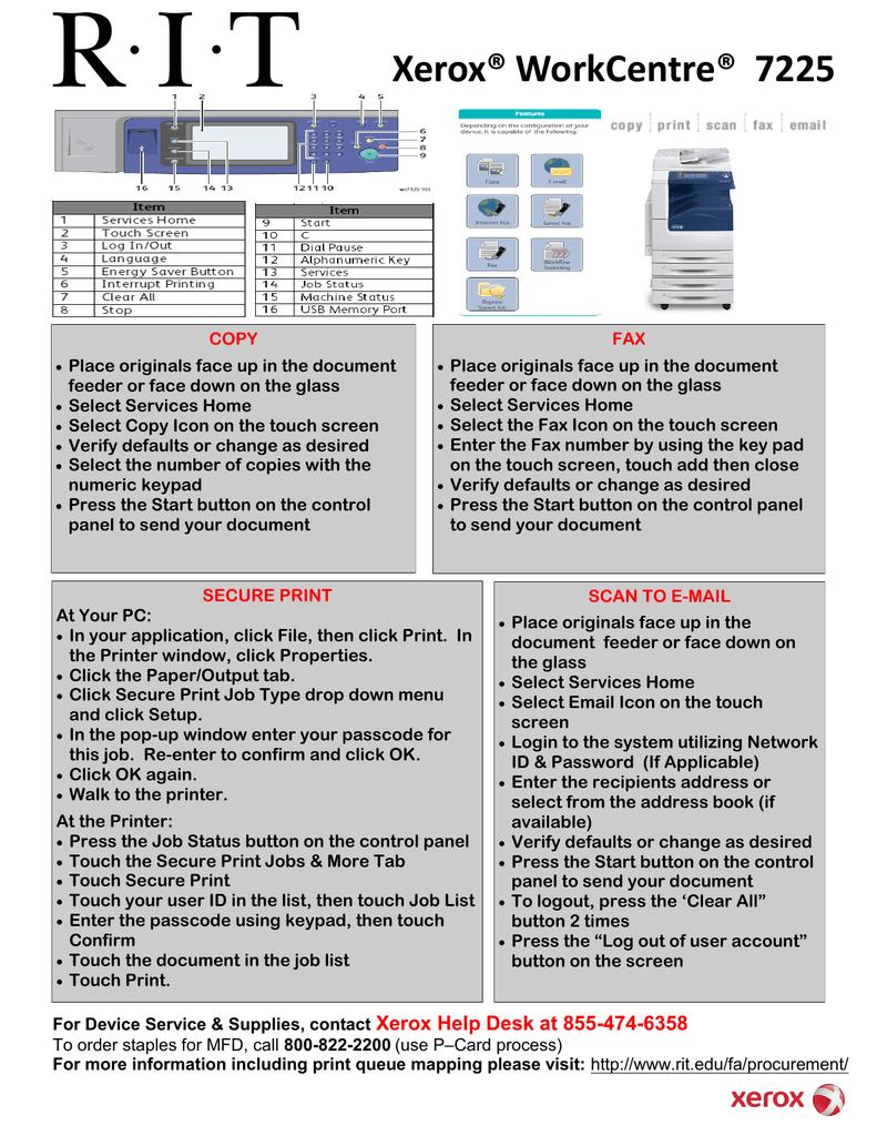 Xerox® WorkCentre® 7225 | manualzz com