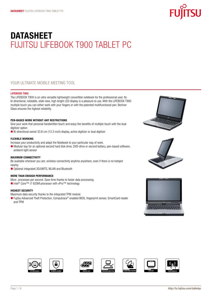 Datasheet Fujitsu LiFEBOOK t900 taBLEt PC | manualzz com
