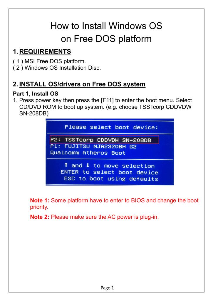 How to Install Windows OS on Free DOS platform | manualzz com