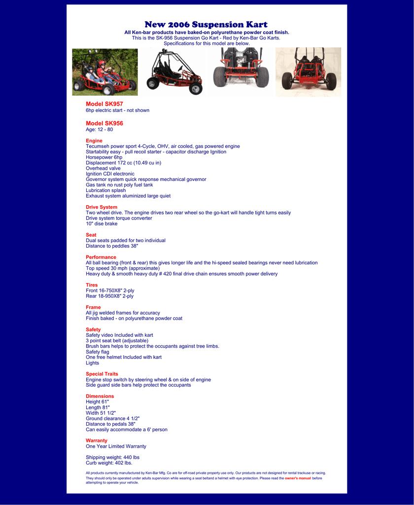 SK-956 Suspension Go Kart - by Ken-Bar Go Karts   manualzz com