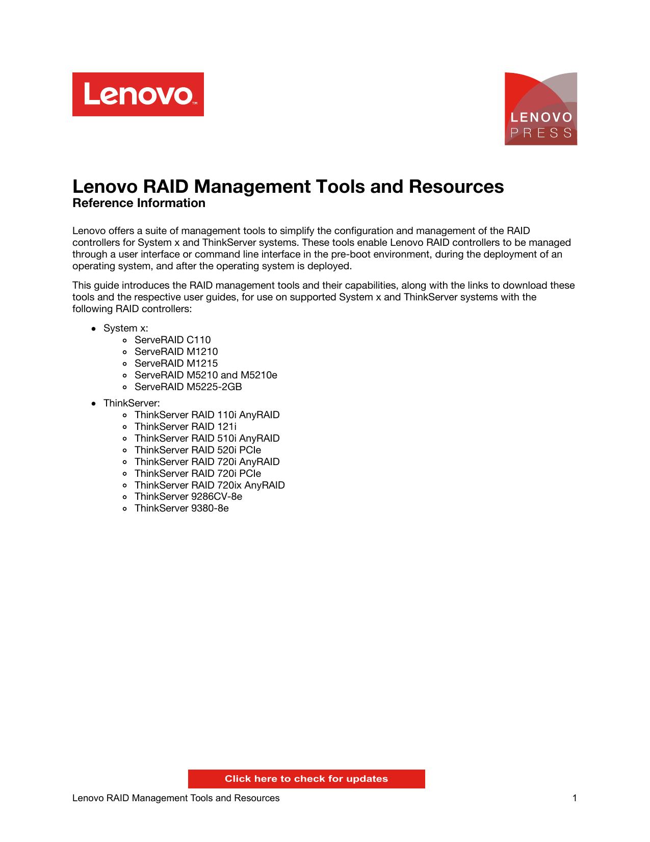 Lenovo RAID Management Tools and Resources | manualzz com