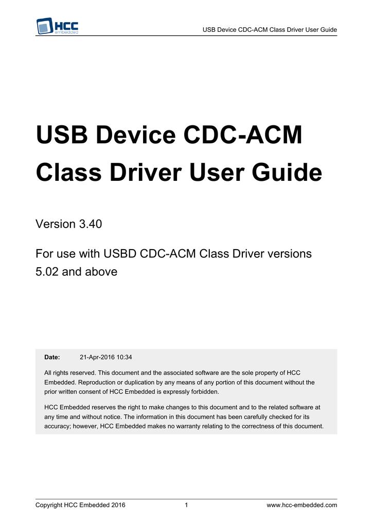 USB Device CDC-ACM Class Driver User Guide | manualzz com