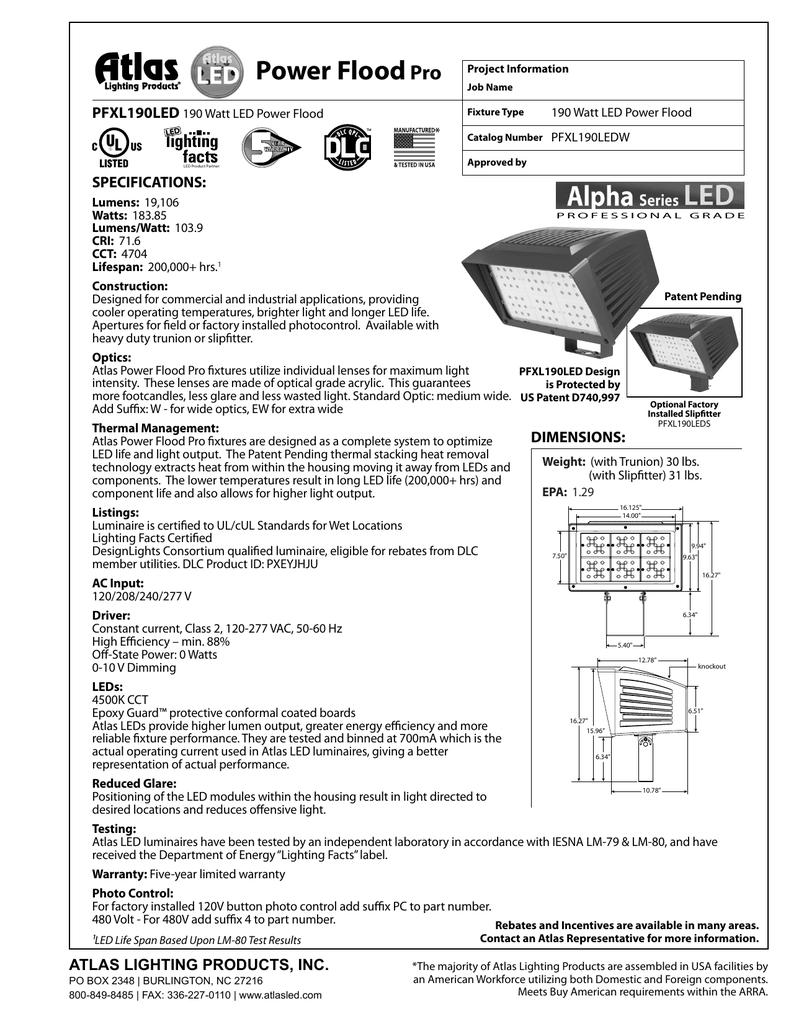 Floodpro Atlas Lighting Products Manualzz