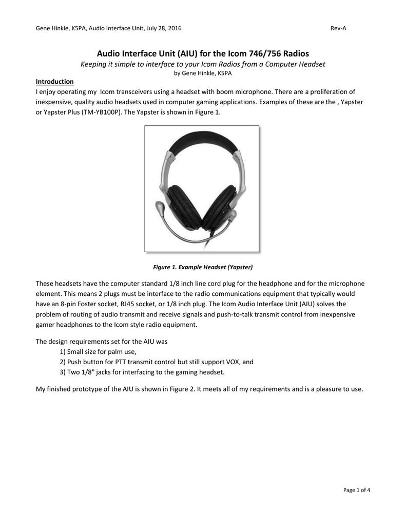 Audio Interface Unit (AIU) for the Icom 746/756 Radios