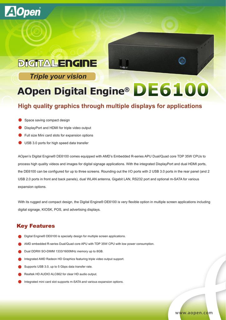AOpen DE6100 Digital Engine AMD All In One Driver Windows 7