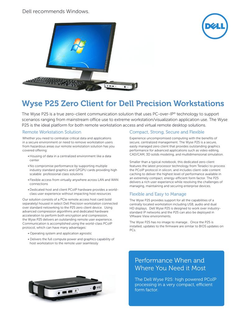 Wyse P25 Zero Client for Dell Precision Workstations | manualzz com
