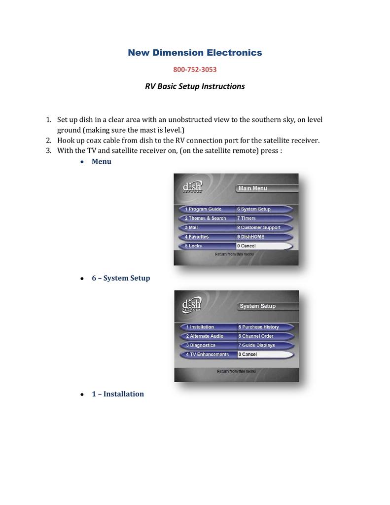 Dish Network For Rv >> Dish Network Basic Rv Setup Menu Walkthrough Manualzz Com