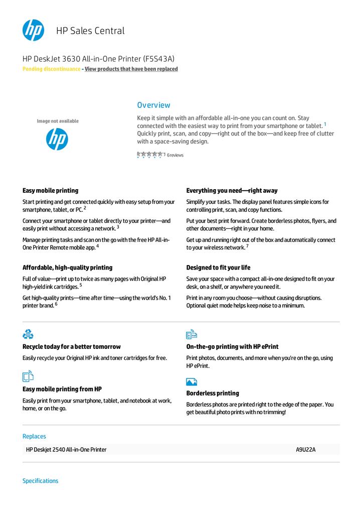 HP DeskJet 3630 All-in-One Printer F5S43A | manualzz com