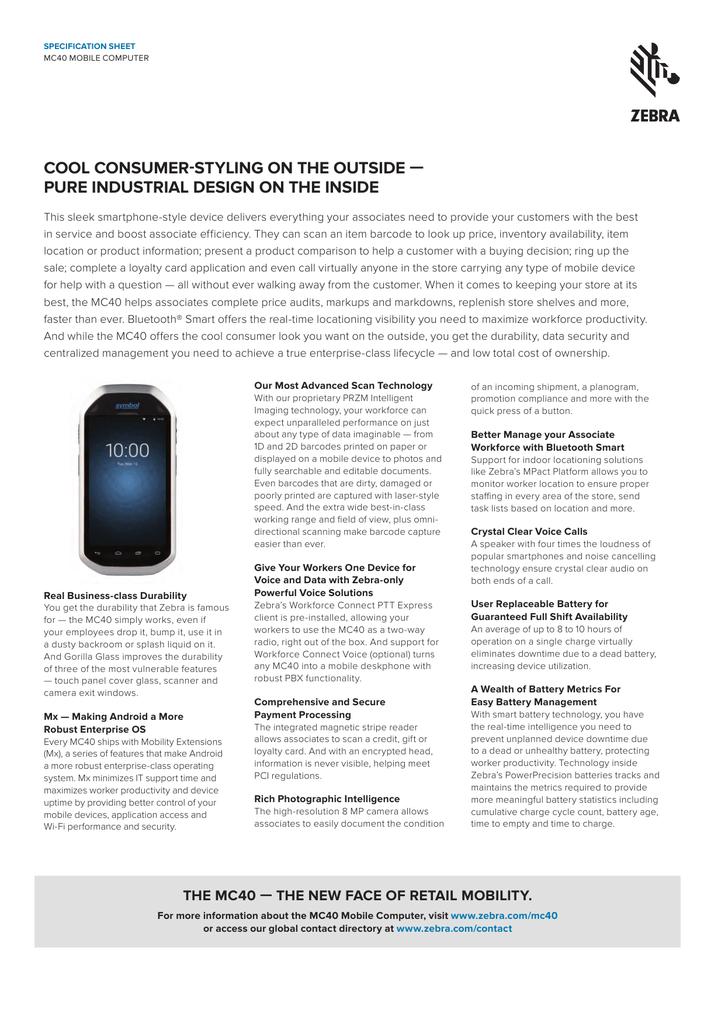 MC40 Mobile Computer Specification Sheet   manualzz com