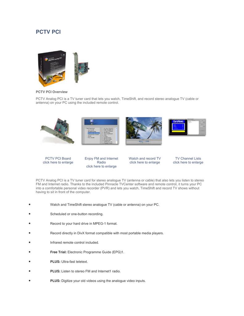PCTV PCI - Aaryan Infocom | manualzz com