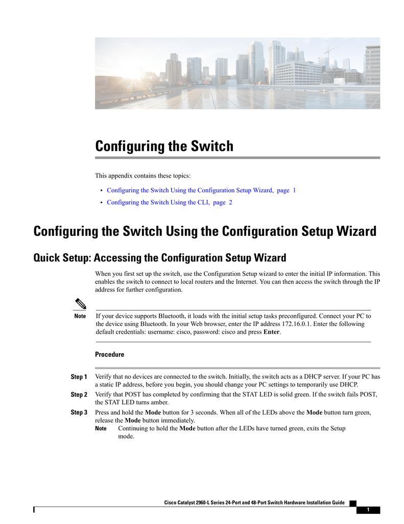 Configuring the Switch | manualzz com