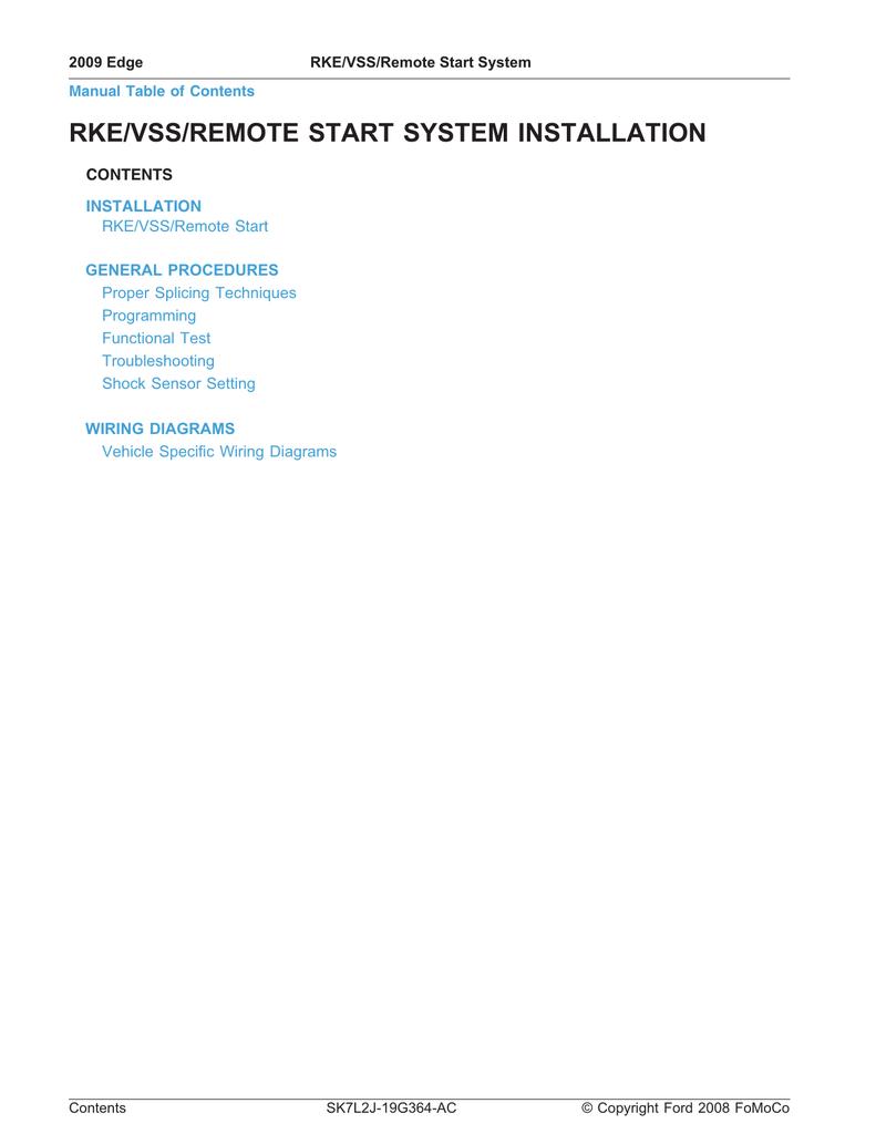 wiring diagram for 2008 ford edge rke vss remote start system installation manualzz  rke vss remote start system