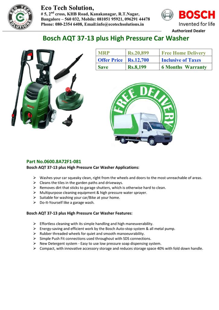 Bosch Aqt 37 13 Plus High Pressure Car Washer Manualzz Com