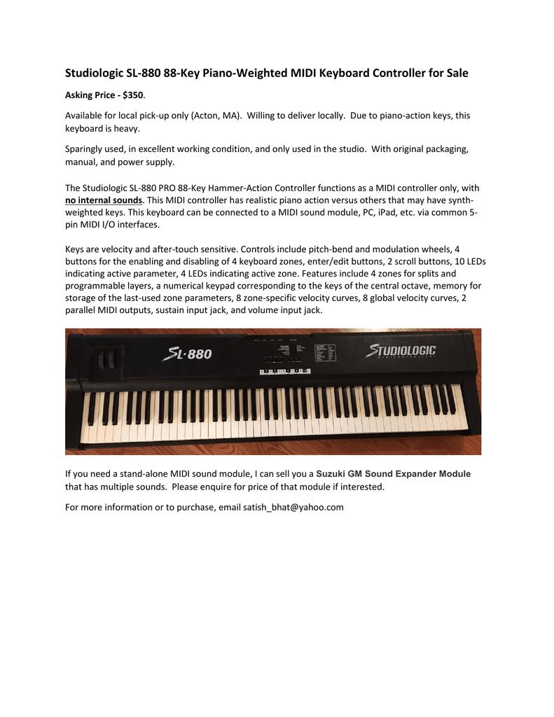 Studiologic SL-880 MIDI Keyboard Controller | manualzz com
