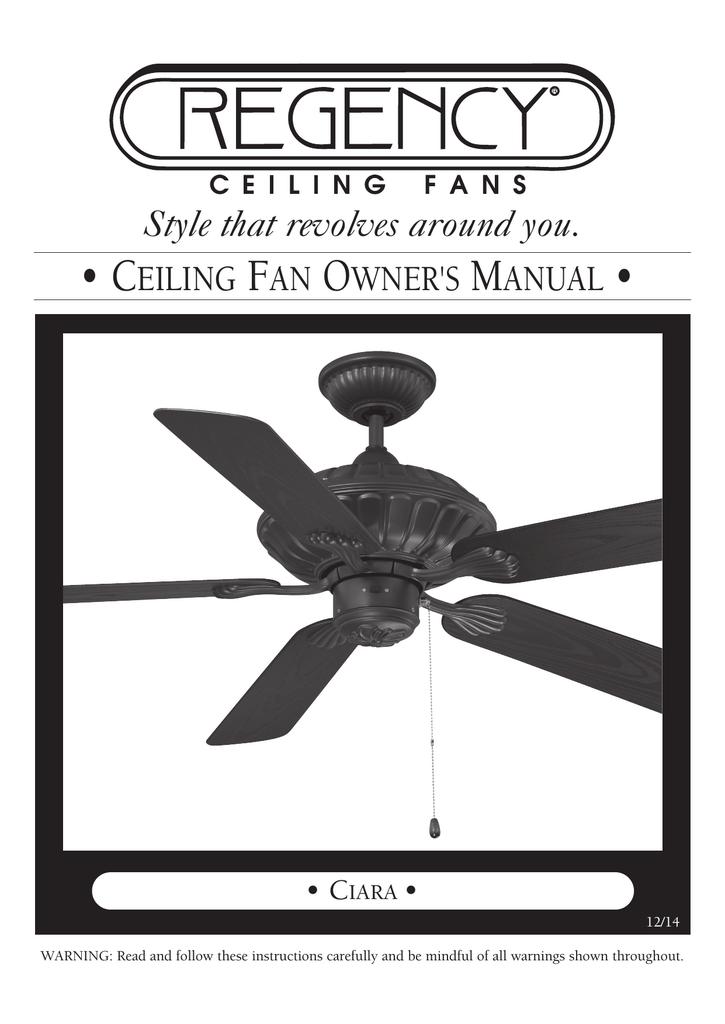Owner S Manual Regency Ceiling Fans Manualzz
