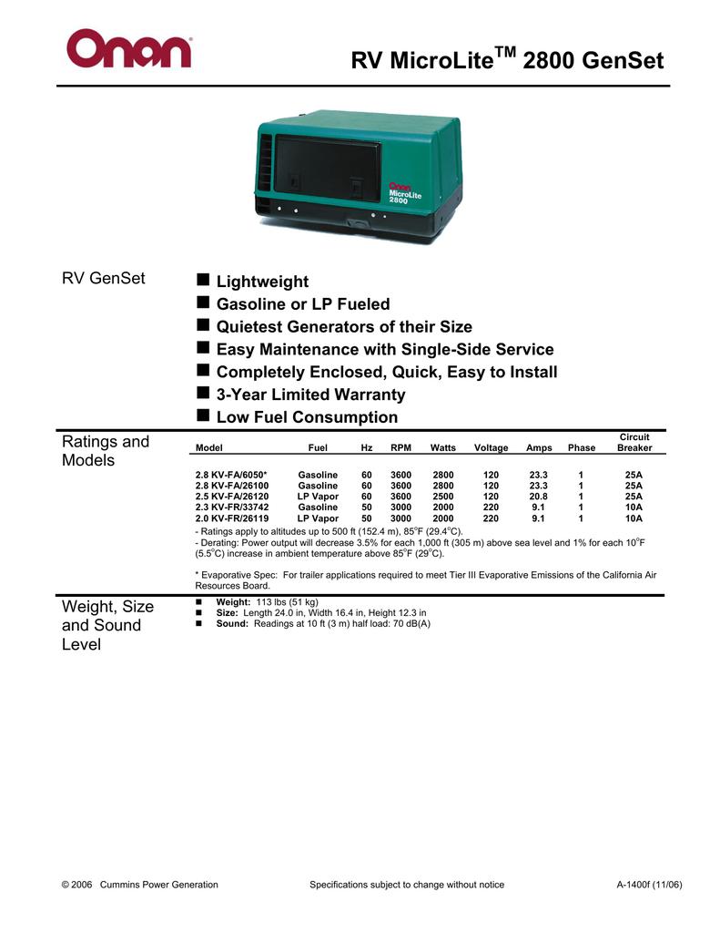 RV MicroLite 2800 GenSet - West Generator Services