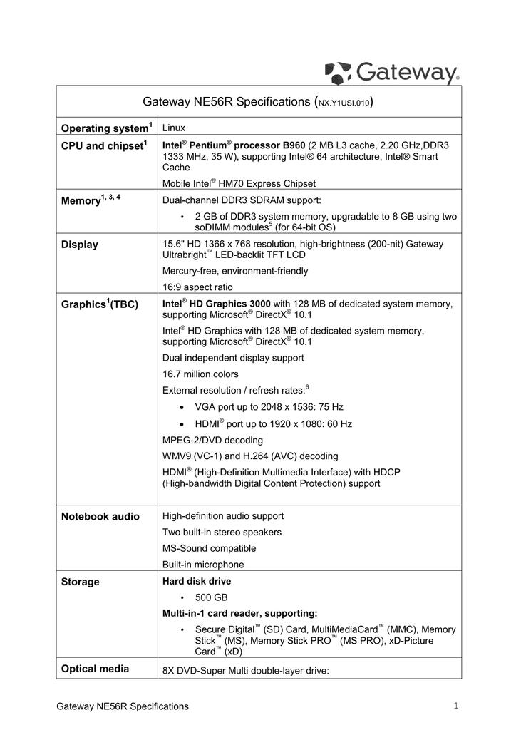 Gateway NV57H Specifications | manualzz com