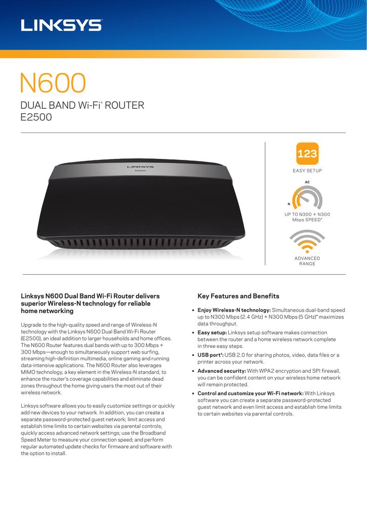 DUAL BAND Wi‑Fi® ROUTER E2500   manualzz com