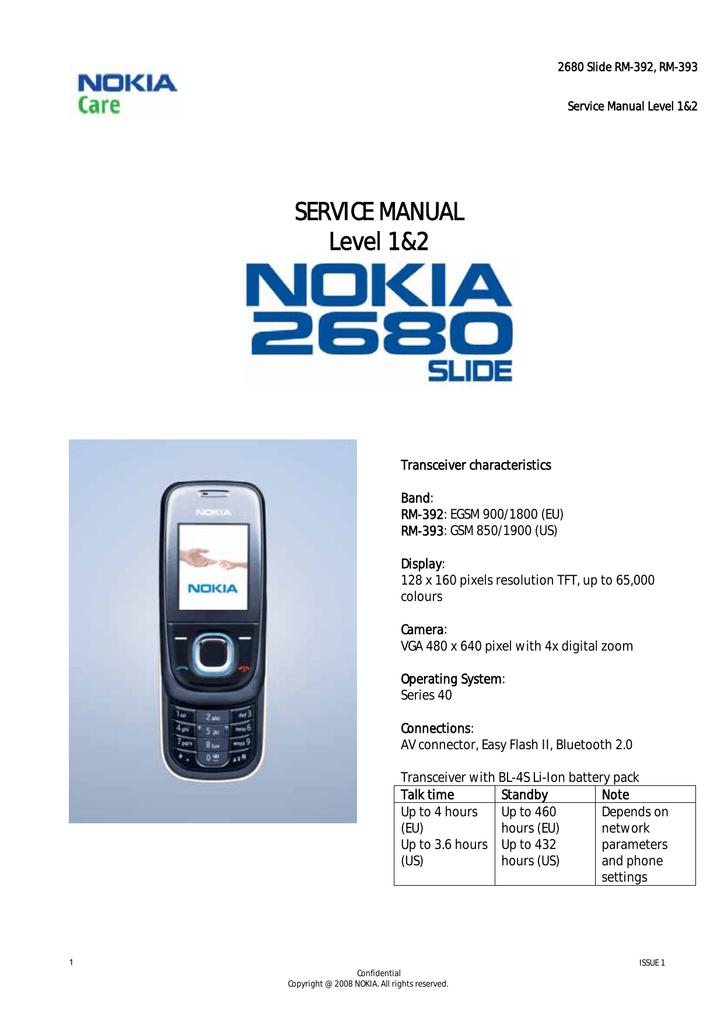 Nokia 2680 Slide RM-392, RM-393 - Service Manual - Infor