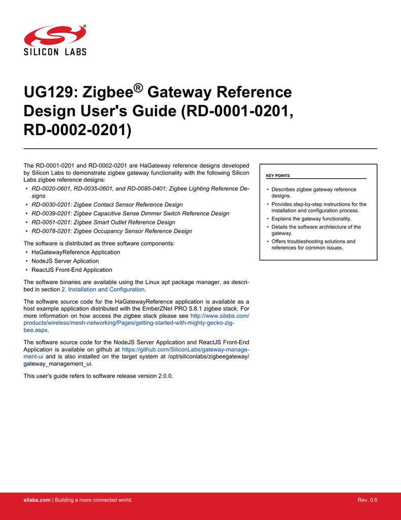 UG129: Zigbee Gateway Reference Design User`s | manualzz com