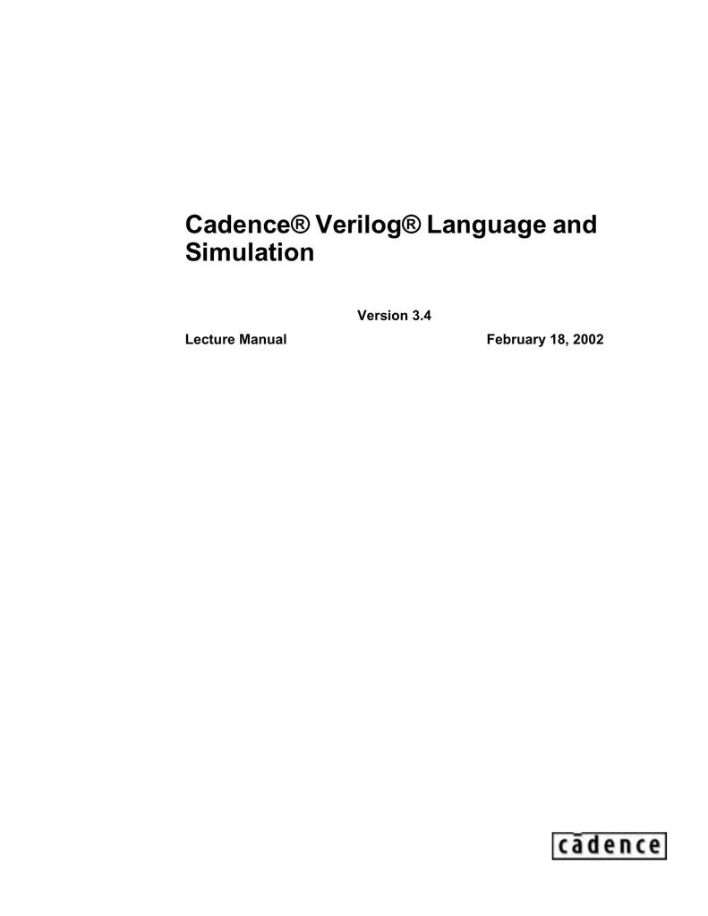 Cadence Verilog Languaje and Simulation Course | manualzz com