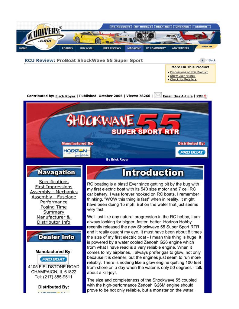 ProBoat ShockWave 55 Super Sport   manualzz com