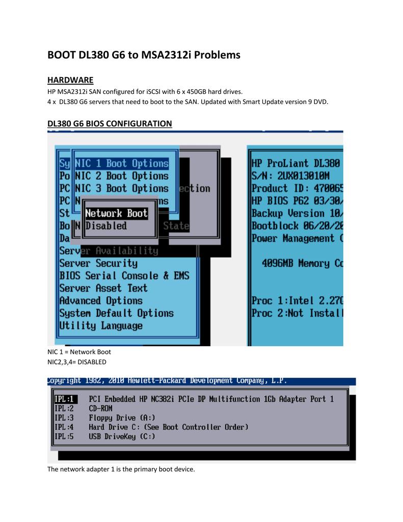 BOOT DL380 G6 to MSA2312i Problems | manualzz com